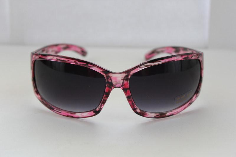 Прямоугольные солнцезащитные женские очки в розово-меланжевой оправе