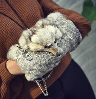 Меховая муфта-сумка серая. Сумка из меха кролика