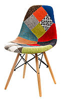 Стул M-01 patchwork, деревянные буковые ножки Charles Eames Style, в стиле лофт, модерн