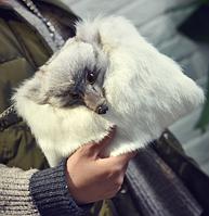 Меховая сумочка белая. Женская сумка из натурального меха кролика