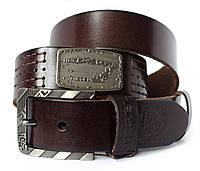 Темно коричневый винтажный мужской кожаный ремень с классической пряжкой Diesel под джинсы (11219)