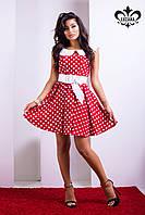 Нарядное женское красное платье в горошек Адриана Luzana 42-50 размеры
