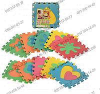 Коврик мозаика M 2739 EVA формы фигур, 10 деталей 29*29*0,8 см, в кульке 29*29*8 см, развивающий коврик-пазл
