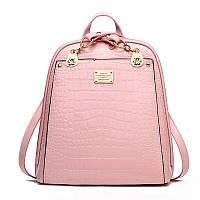 Сумка рюкзак женская лаковая под рептилию (розовая)