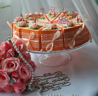 Персиковый тортик.Набор CandyBox (бонбоньерок) для подарков и пожеланий