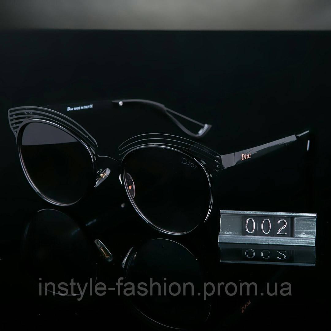 Женские брендовые очки копия Диор черные круглые