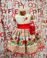 Пышное нарядное детское платье в украинском стиле