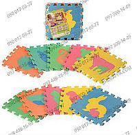 Коврик мозаика M 2738 EVA фигурки животных, 10 деталей 29*29*0,8 см, развивающий коврик-пазлы