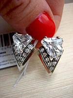 Серебряные серьги Оракул с цирконием, фото 1