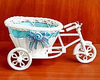 Декоративный велосипед для цветов (001-голубой) 10.5 х 23 см