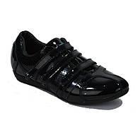 Кроссовки женские лак кожаные черные