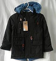 Куртка детская парка демисезонная  для мальчиков 10-14 лет,коричневая