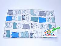 Фланелевые (байковые) пеленки (белая с котиками) 75/120