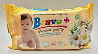 BRAVO Вологі серветки для дітей 60 шт. РОМАШКА