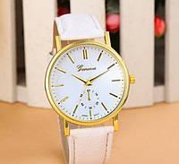 179 - Наручные кварцевые женские часы Женева с белым ремешком