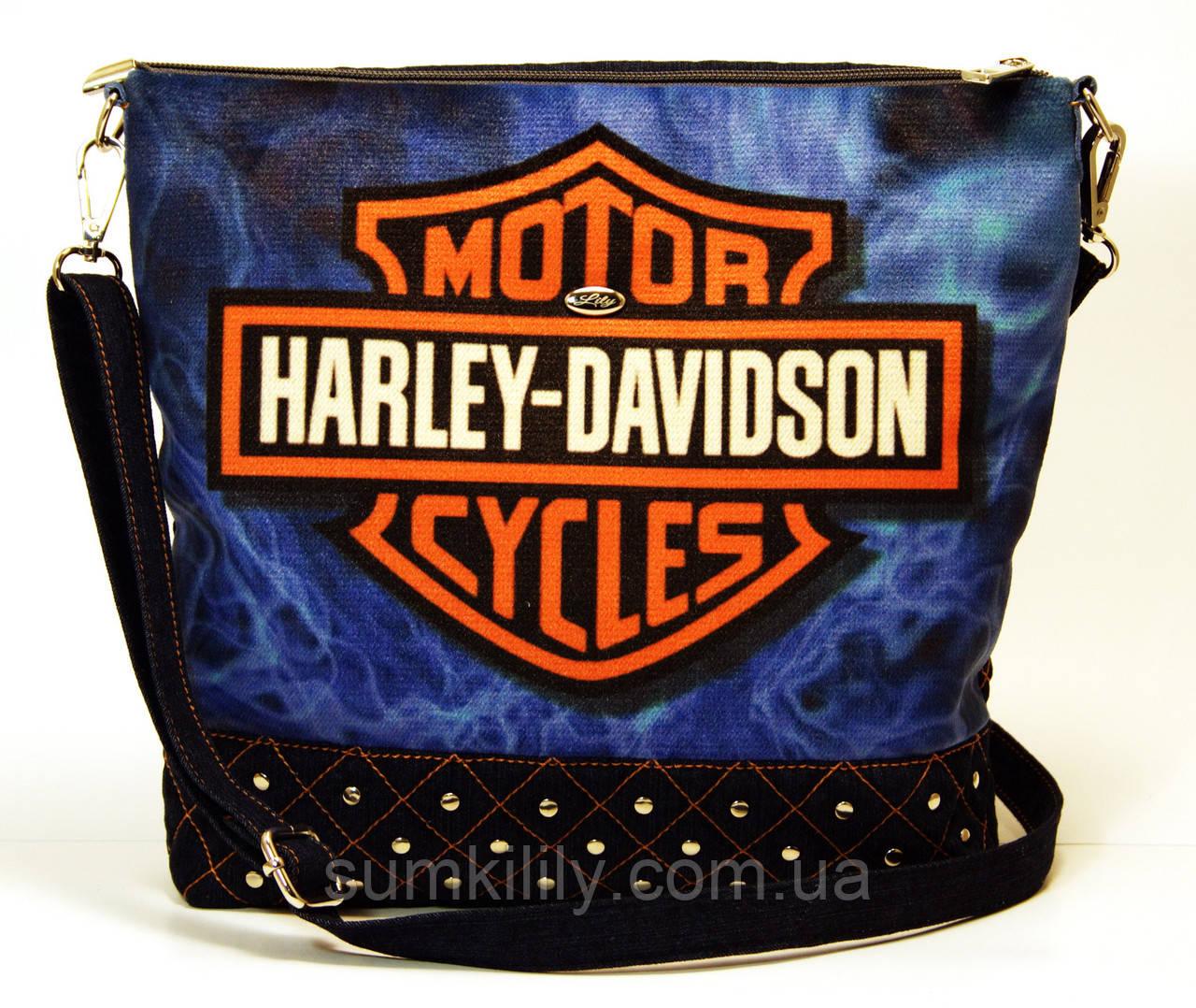 Джинсовая стеганная сумочка HARLEY 6