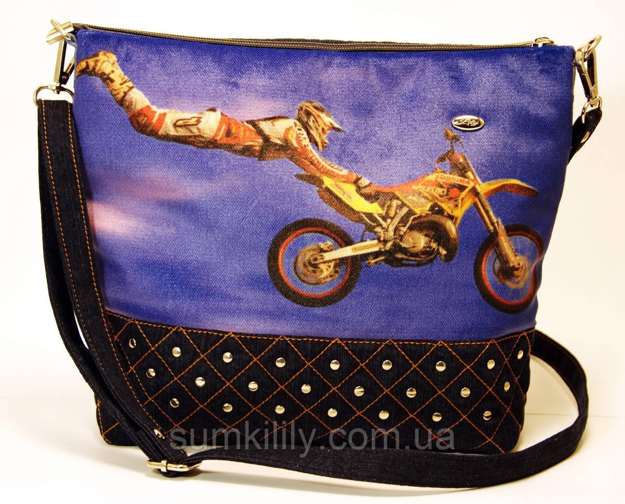 Джинсовая стеганная сумочка Фристайл