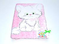Детский флисовый плед ( розовый с аппликацией котик)