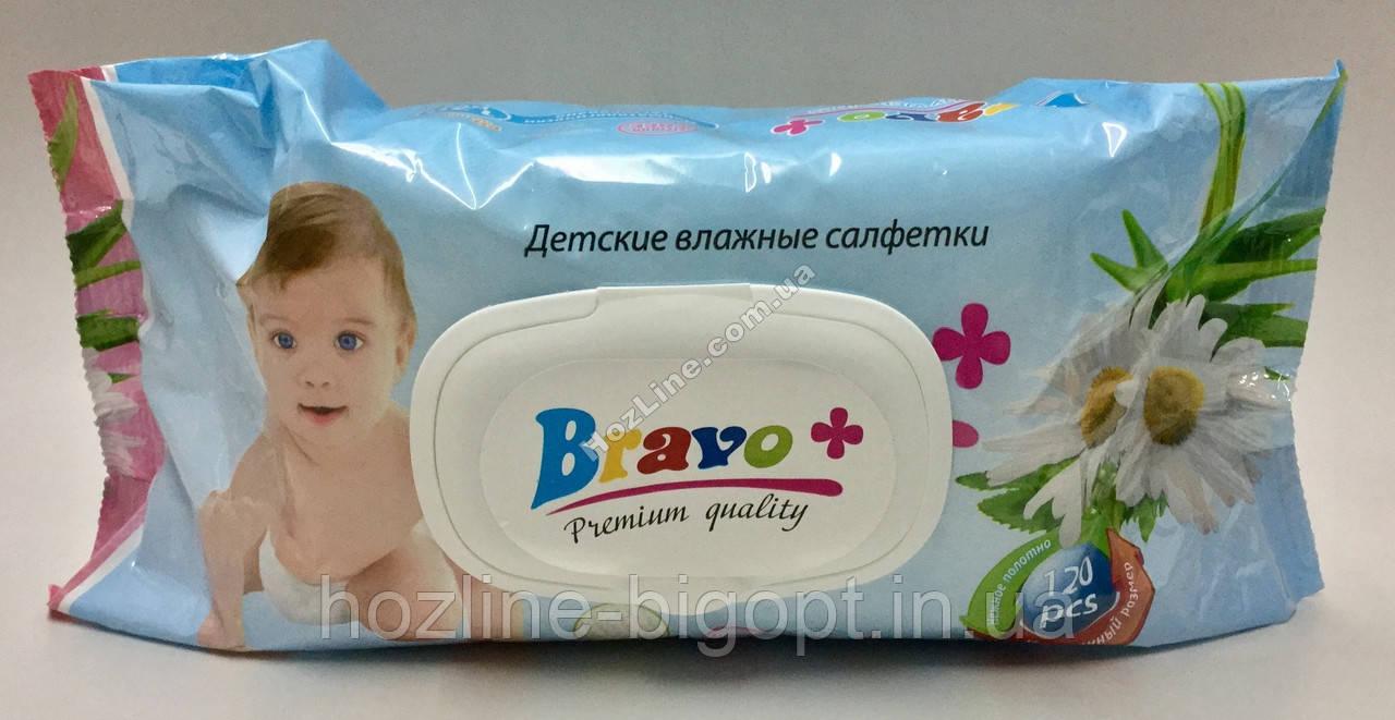 BRAVO Влажные салфетки с пластиковой крышкой для детей 120 шт. РОМАШКА