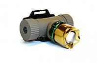 Мощный тактический налобный фонарик с зумом Bailong BL-6866  99000W + комплект , В наличии