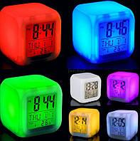 Настольные часы - будильник - ночник хамелеон (меняющий цвета) с термометром, В наличии