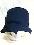 Фетровий капелюшок із складками і бантом, фото 10