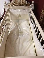 """Волшебный постельный набор в детскую кроватку для девочки """"Принцесса"""" (ткань сатин) ванильный"""