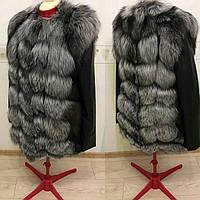 Курточка с натуральным мехом чернобурки