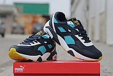 Стильные замшевые кроссовки Puma Trinomic, весенние, синие с белым 44,46, фото 3