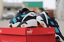 Стильные замшевые кроссовки Puma Trinomic, весенние, синие с белым 44,46, фото 2
