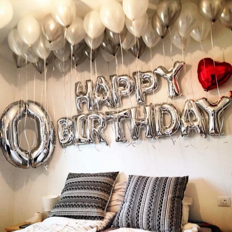 Фольгированные надувные буквы happy birthday серебро набор 13 букв