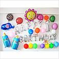 Фольгированные надувные буквы happy birthday серебро набор 13 букв, фото 6