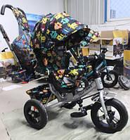 """Велосипед TILLY Trike  """"Монстрики"""" надувные колеса, серый"""
