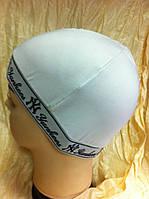 Белая шапка  одинарная демисезонная х/б