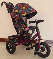"""Велосипед TILLY Trike  """"Кошки"""" надувные колеса, фиолетовый"""