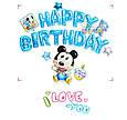 Фольговані кульки букви букви happy birthday сині в зірочку набір букв 13, фото 5