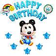Фольговані кульки букви букви happy birthday сині в зірочку набір букв 13, фото 3