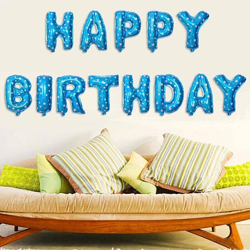 Фольговані кульки букви букви happy birthday сині в зірочку набір букв 13