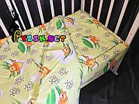 Постельный набор в детскую кроватку (3 предмета) Мишки Соты Зеленый, фото 1