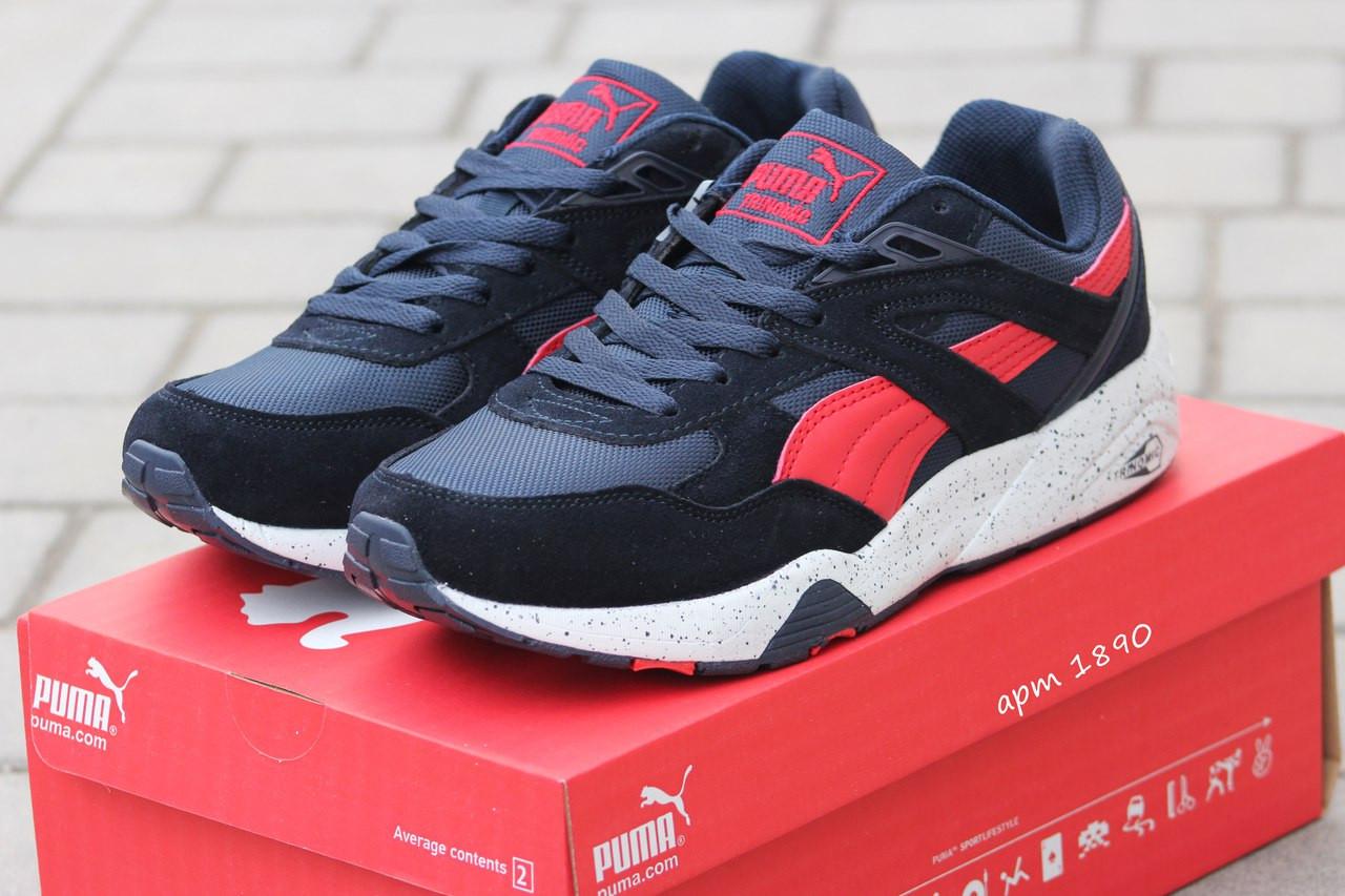 Замшевые мужские кроссовки Puma Trinomic,темно синие с красным,45р
