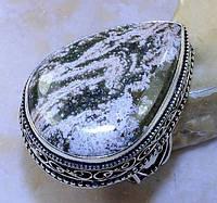 Крупный винтажный перстень. Океаническая яшма в серебре