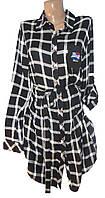 Рубашка-туника женская 7565 с поясом клетка (деми)