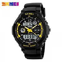 Водонепроницаемые, мужские часы Skmei S-Shock 0931 (yellow/желтый) - спортивные, ударостойкие