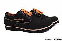 Туфли модельные мужские Konors нубук кожа черные (мокасины мужские, комфорт, черный, Украина)
