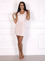 Стильное домашнее платье, ночная сорочка красивого цвета розовый меланж 594.