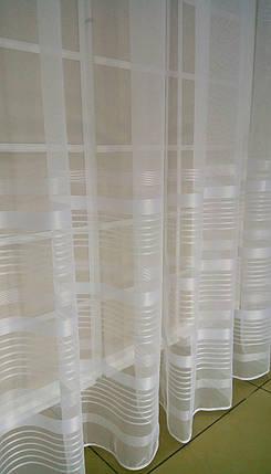 Тюль Полоска Молочная, микросетка с вышивкой, фото 2