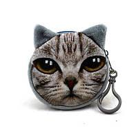 Кошелек серый кот 3D на молнии для детей