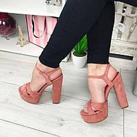 Женские босоножки на толстом каблуке 13,5 см, эко замша, кораловые / модные босоножки  для девочек, стильные