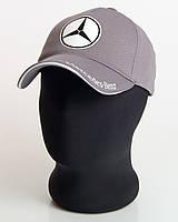 """Мужская бейсболка с автологотипом """"Mercedes-Benz"""" серая (лакоста пятиклинка)."""