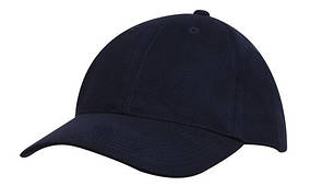 Кепка шестипанельная  Brushed Cotton Cap, темно-синяя, от 10 шт.